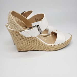 New Direction White Rachel Espadrille Wedges